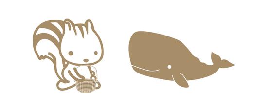 Kurumi Houseオリジナルキャラクター リスのクルミちゃん・クジラのマッコウくん