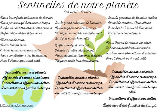sentinelles de notre planète développement durable chant les petits écoliers