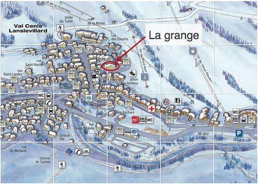 Plan de Lanslevillard et localisation de la grange