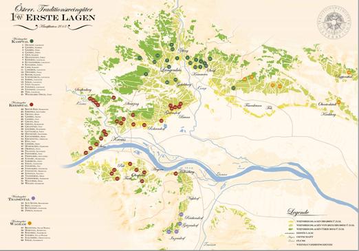 ドナウ川の南北にエアステ・ラーゲン(銘醸畑)が広がります。更に西がヴァッハウで、東下流にウィーンが控えます。