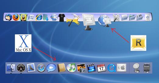 barra muy similar a la object dock, muy buena tambien estilo mac y muchos mas...