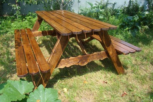 Стол садовый деревянный 2х1м со скамейками