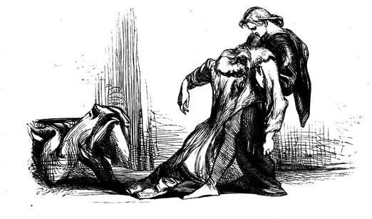 """Hamlet Dragging Polonius"" by John Gilbert (1867)"