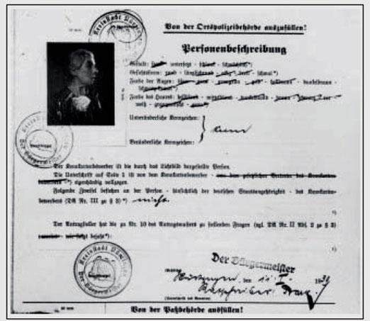 Kennkartenantrag von Anna Frank vom 11. Januar 1939 (Ausschnitt), Vorlage: Hauptstaatsarchiv Stuttgart, EA 99/001 / Bü 236, , alle Rechte vorbehalten, aus WERNER 1998, S. 51