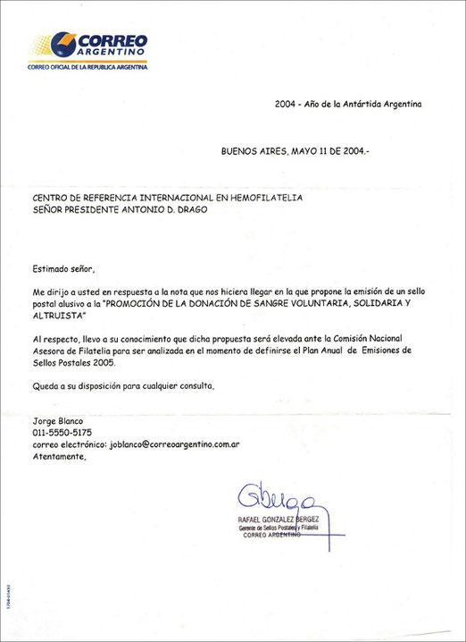 Respuesta de la Primera nota presentada al Correo Oficial.