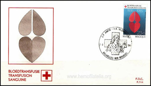 Belgium released a set of stamps on Belgian Red Cross on 02 mar 1985. A FDC with a stamp on Blood Transfusion is shown. This 23F+ 5F stamp design shows two hearts.
