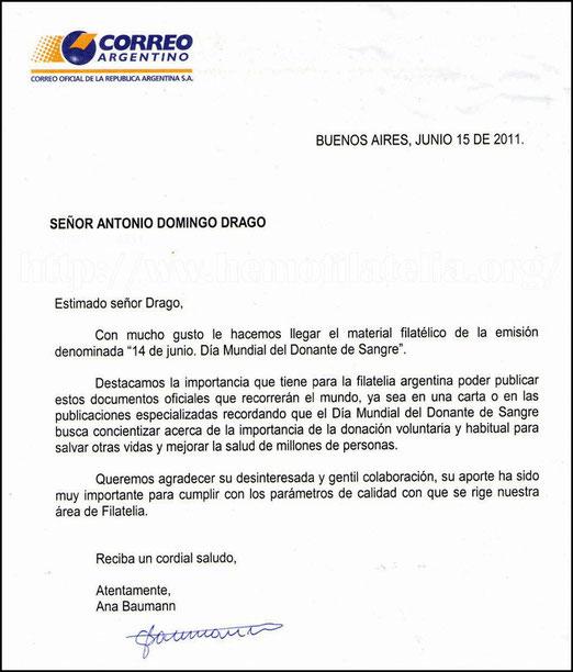 MUCHAS GRACIAS al Correo Oficial de la República Argentina.
