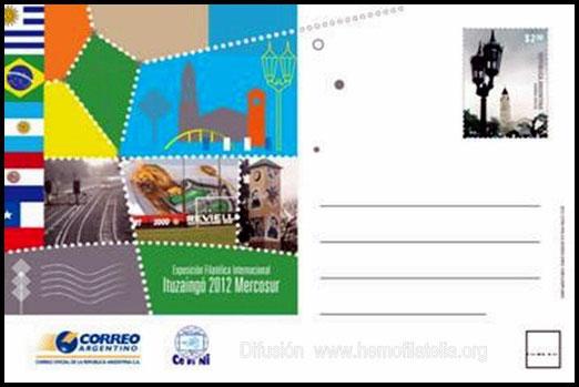 """Entero postal alusivo a la Exposición Internacional de Filatelia Temática """"Ituzaingó 2012 Mercosur""""."""