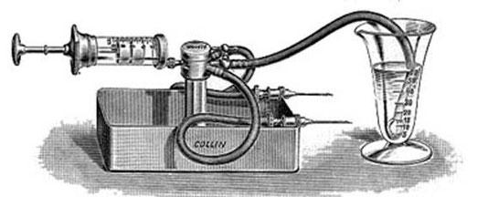 Distribuidor de Tzanck (Arnault Tzanck, 1886-1954) para transfusiones sanguíneas (+ pulsar sobre la imagen para verla a mayor tamaño).