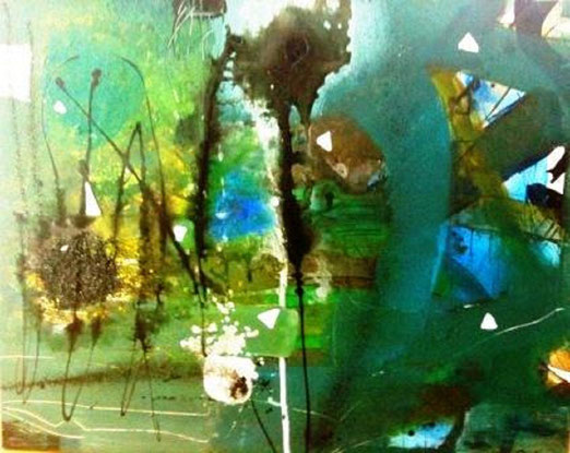 Bild: Am See: 80 x 100 cm, auf Leinwand, Acryl-Mischtechnik