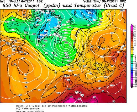 Abb. 1 | 850 hPa Temperatur Beispielkarte für Europa vom 19. Mai 2011 um 00 UTC | Kartenquelle: www.wetterzentrale.de