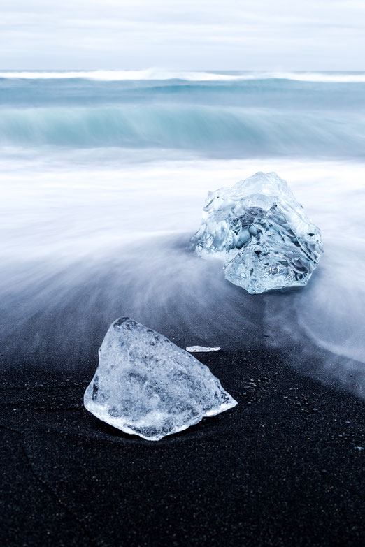 Blocks of ice at Diamond Beach in Iceland