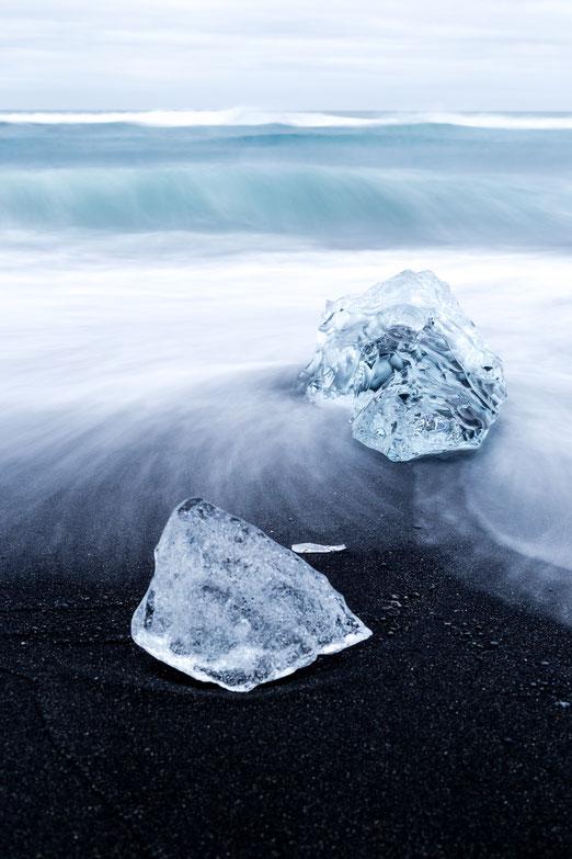 Blocks of ice at Diamond Beach in Iceland