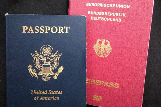 German and American passport