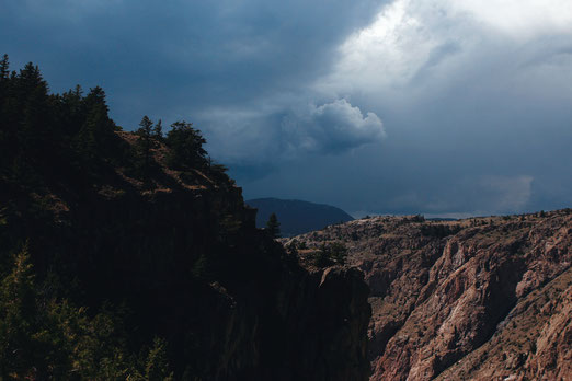 Hiking in thunderstorm, threat, weather in the mountains