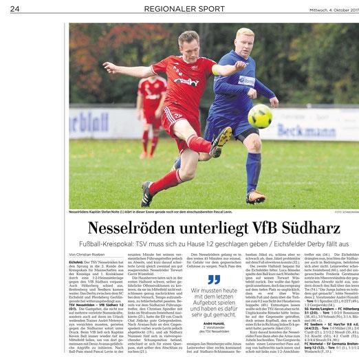 Eichsfelder Tageblatt , GT Sportbuzzer berichten über TSV Nesselröden vs. VfB Südharz