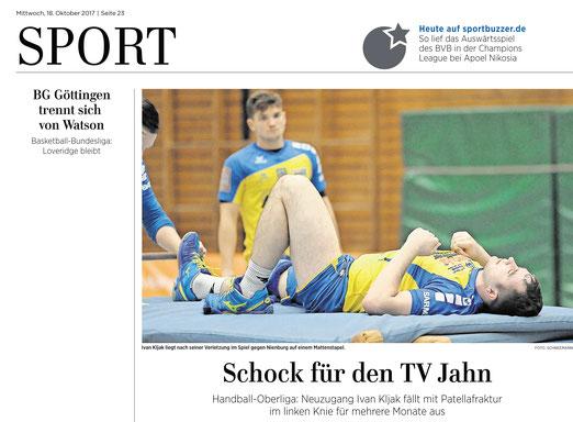 Eichsfelder Tageblatt  berichtet über Verletzung von Ivan Kljak vom Handball Oberligst TV Jahn Duderstadt