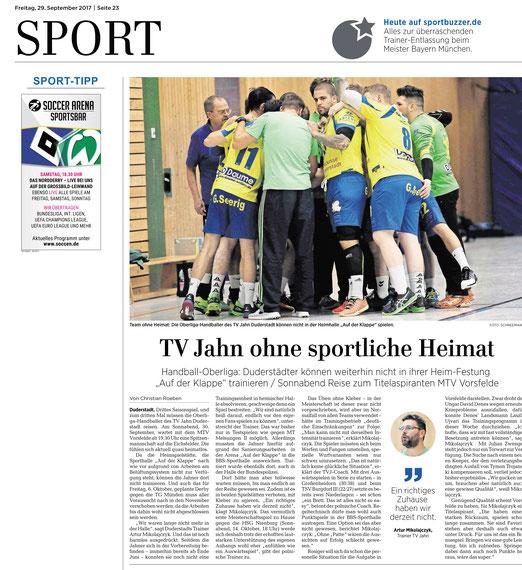 Eichsfelder tageblatt berichtet TV Jahn Duderstadt ohne Halle
