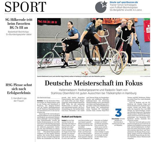 Eichsfelder Tageblatt  berichtet über die Radpolo Bundesliga und die Chance auf die Deutsche Meisterschaft mit RV Stahlross Obernfeld