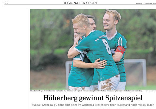 Eichsfelder Tageblatt , GT Sportbuzzer FC Höherberg besiegt Germania Breitenberg 3:2