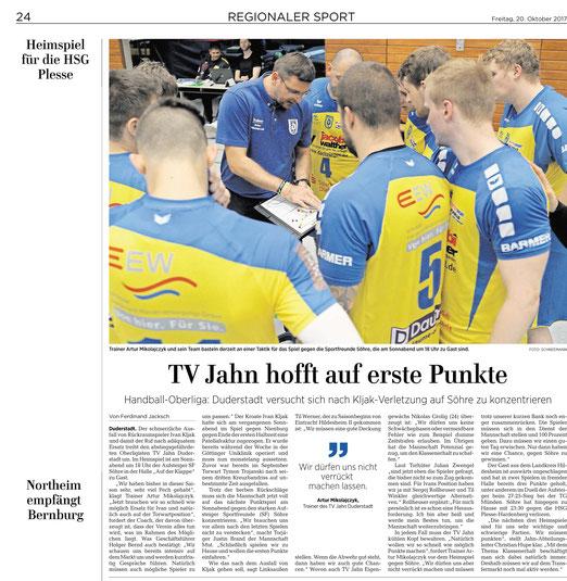 Eichsfelder Tageblatt  berichtet über Handball Oberligst TV Jahn Duderstadt, Vorschau Spiel gegen Sportfreunde SF Söhre
