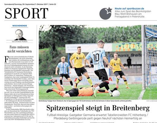 Eichsfelder Tageblatt Vorschau Spitzenspiel des SV Germania Breitenberg