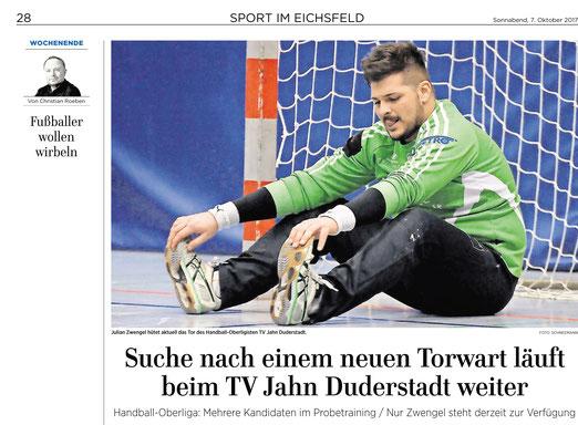 Eichsfelder Tageblatt  berichtet über Torwartsuche des TV Jahn Duderstadt mit Julian Zwengel