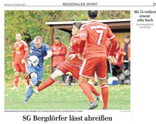 Eichsfelder Tageblatt  berichtet über SG Bergdörfer vs Sparta Göttingen
