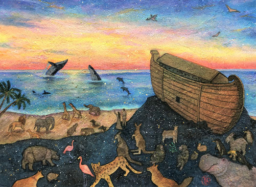 """Noah's ark""   24.2×33.3cm    Mica Wall Painting.  Framed."