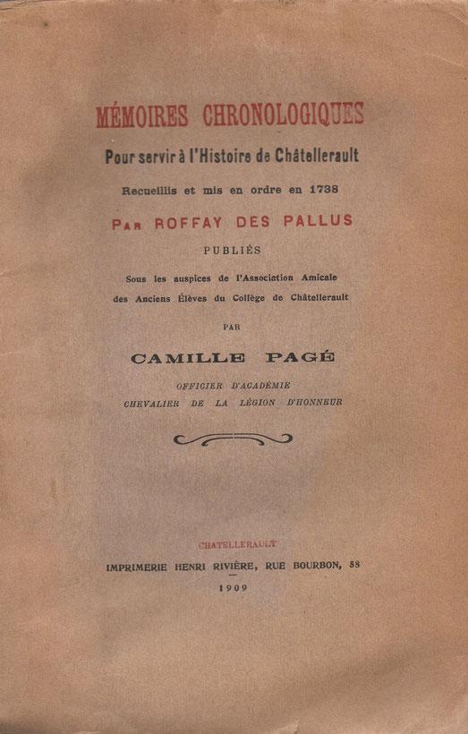 """première de couverture pour """" Mémoires Chronologiques pour servir à l'Histoire de Châtellerault """" de Roffay des Pallus 1738"""
