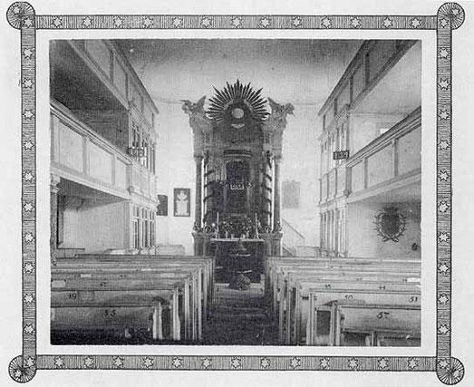 Das Innere der Kirche vor der groβen Umgestaltung 1896