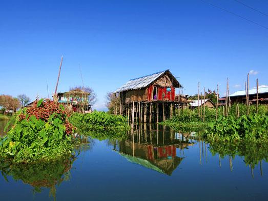 Stelzenhäuser auf dem Inle-See