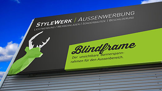 Banner Bannerrahmen Spannrahmen Werbeplane Gerüstplane mit Rahmen StyleWerk Werbetechnik