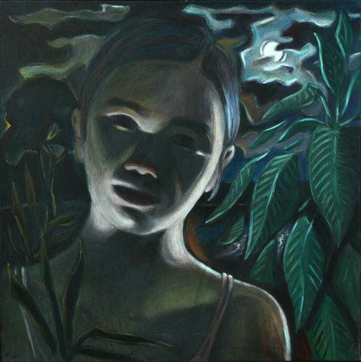 philipp christoph haas | [mond] aus der serie 'un jardin pendant la mousson' | akryl auf leinwand, 2020