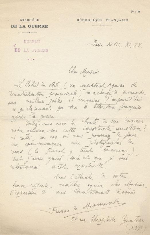 Francis de Miomandre lettre autographe signée