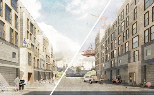 Wettbewerb Europan 14 - THE PRODUCTIVE CITY - DARIN DARUM DARUNTER DAZWISCHEN - Leben und Arbeiten zwischen den Kanälen 2. Preis Herr & Schnell Architekten Hamburg