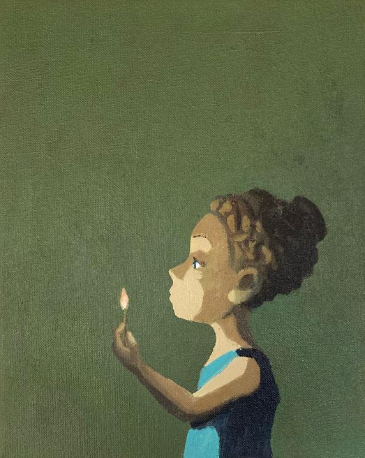 little flame - Acryl auf Leinwand, 30x24cm, 2020