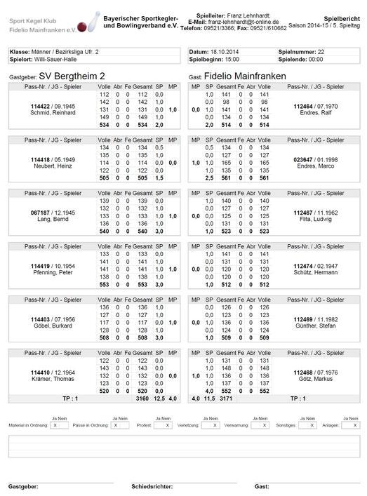 5.Spieltag: SV Bergtheim 2 - Fidelio Mainfranken