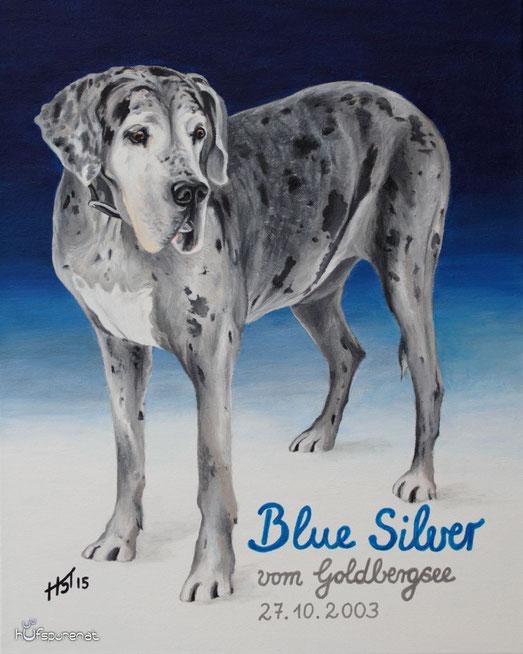 """""""Blue Silver"""" Acryl auf Leinwand, 50x40"""