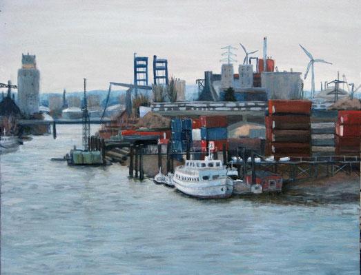 Freihafen I, Format 100 x 80 cm, Eitempera/Öl-Lasur auf Leinwand, 2011
