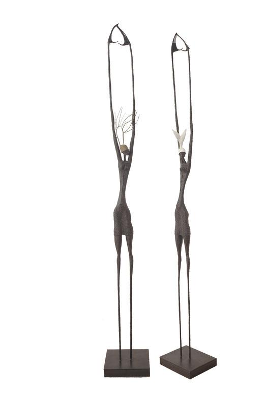 Mujer | Fish & Trees  series, interchangeable hats, 2015, bronze, black patina, 1/8, 228 x  30 x 27 cm