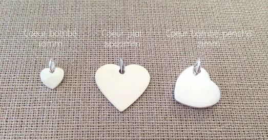 Médaille coeur bombé gros coeur plat coeur penché en argent massif à graver