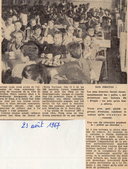 """Article paru dans le journal """"Le Peuple"""" du 23 août 1967"""