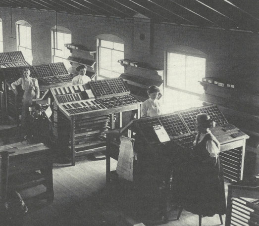 Compositors at work for The Brethren Publishing Co, typesetting for 'The Wellington Enterprise' in Ohio in the late nineteenth century.