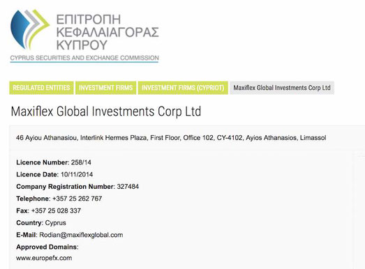 Maxiflex Global Investments Corp Ltd Europefx Cysec cipro