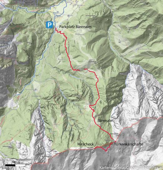 Route auf das Hirscheck im Toten Gebirge. Ausgehend von dem Bärenalm Parplatz über die Bärenalm zur Türkenkarscharte und weiter zum Hirscheck Gipfel.