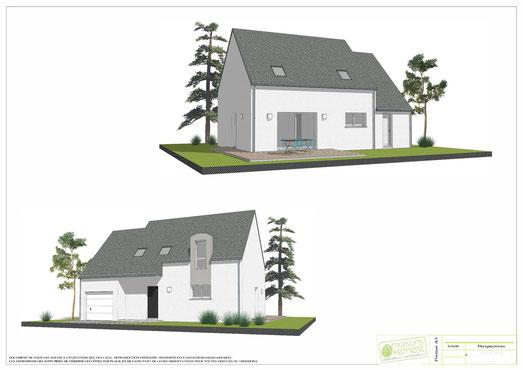 maison traditionnelle à étage avec enduit bicolore gris blanc et garage intégré
