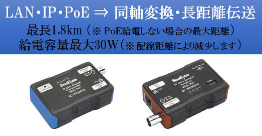 IPカメラ ネットワークカメラ用 同軸LANコンバーター 同軸PoEモデム TLCモデム 製品写真01