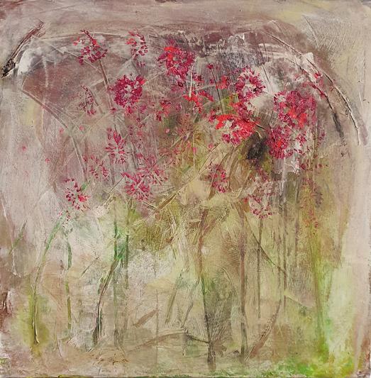 Artigkeit, Claudia Karrasch, Studio Bonn, Malen, Kunst, Abstrakte Malerei, Klatschblümchen Neonpink, Acryl, auf Leinwand, 50 X 50 cm