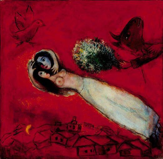 """Marc Chagall, """"Les Amants au ciel rouge"""" (1950)"""